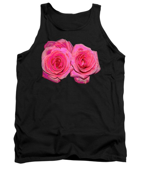 Pink Roses With Enameled Effects Tank Top