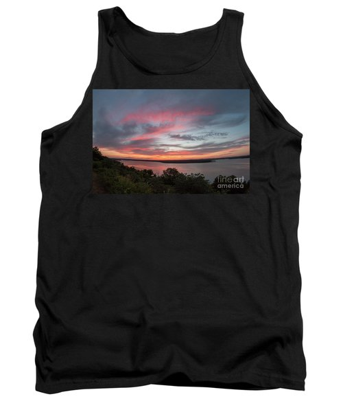 Pink Skies And Clouds At Sunset Over Lake Travis In Austin Texas Tank Top