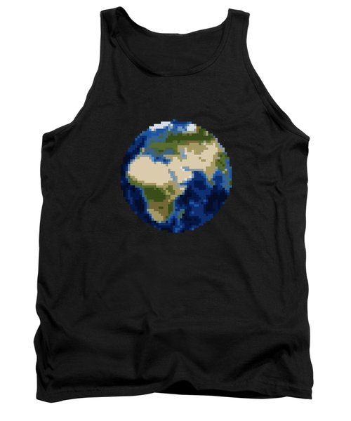 Pixel Earth Design Tank Top by Martin Capek