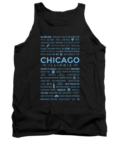 Places Of Chicago Blue On Black Tank Top by Christopher Arndt