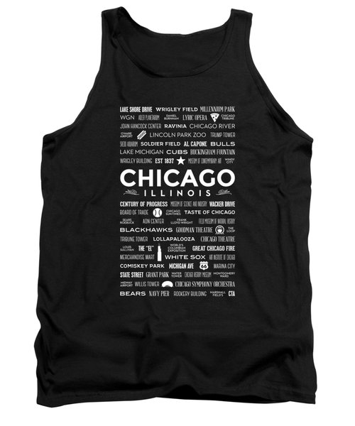 Tank Top featuring the digital art Places Of Chicago On Black Chalkboard by Christopher Arndt