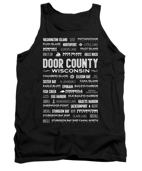 Tank Top featuring the digital art Places Of Door County On Black by Christopher Arndt