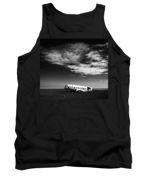Tank Top featuring the photograph Plane Wreck Black And White Iceland by Matthias Hauser