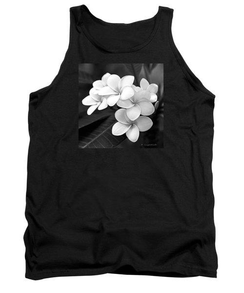Plumeria - Black And White Tank Top by Kerri Ligatich