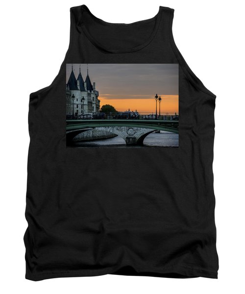 Tank Top featuring the photograph Pont Au Change Paris Sunset by Sally Ross