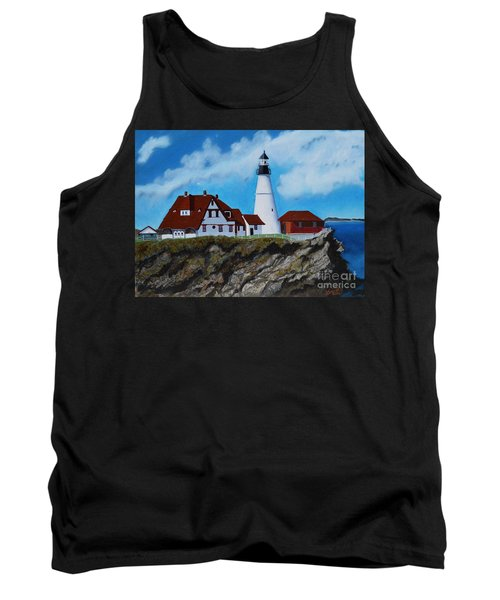 Portland Head Light In Maine Viewed From The South Tank Top