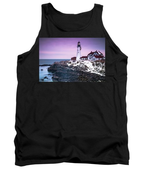 Tank Top featuring the photograph Maine Portland Headlight Lighthouse In Winter Snow by Ranjay Mitra