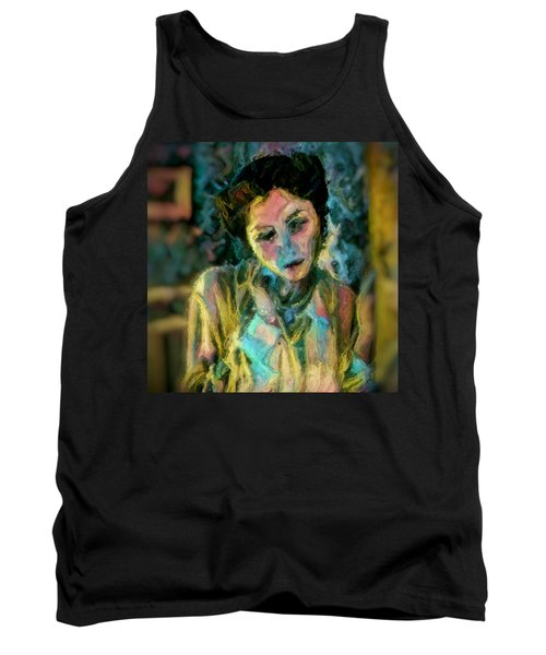 Portrait Colorful Female Wistfully Thoughtful Pastel Tank Top