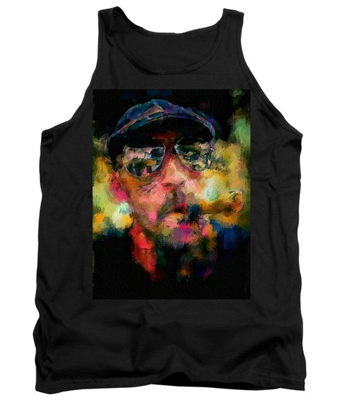 Portrait Of A Man In Sunglass Smoking A Cigar In The Sunshine Wearing A Hat And Riding A Motorcycle In Pink Green Yellow Black Blue Oil Paint With Raking Light To Pick Up Paint Texture Tank Top