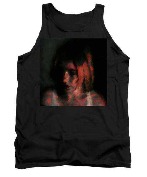 Portrait Painting Of Girl In Red Gray Black With Wistful Thoughts Of Fleeting Memories Tank Top