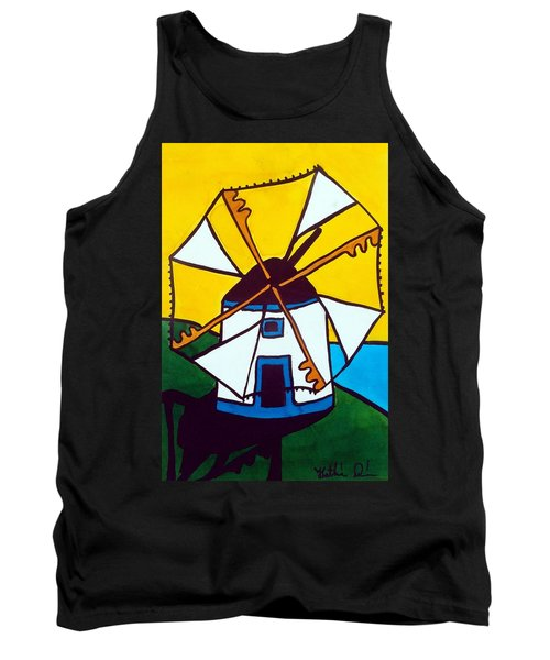 Tank Top featuring the painting Portuguese Singing Windmill By Dora Hathazi Mendes by Dora Hathazi Mendes