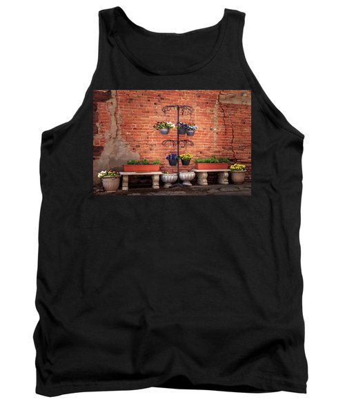 Tank Top featuring the photograph Potted Plants And A Brick Wall by James Eddy