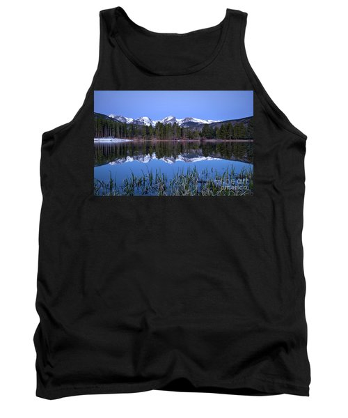 Pre Dawn Image Of The Continental Divide And A Sprague Lake Refl Tank Top