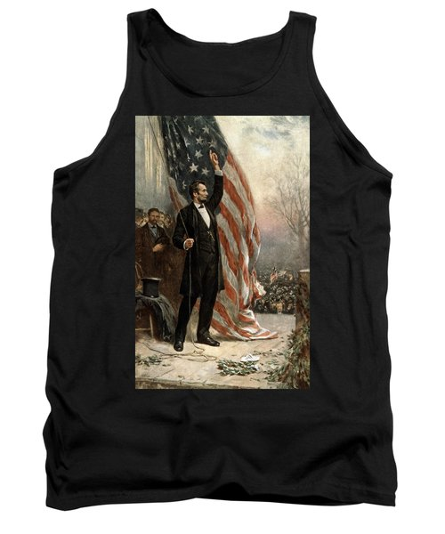 Tank Top featuring the photograph President Abraham Lincoln - American Flag by International  Images