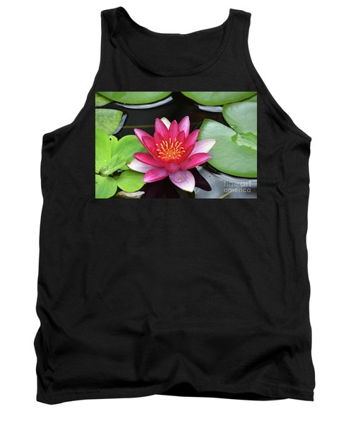 Pretty Red Water Lily Flowering In A Water Garden Tank Top