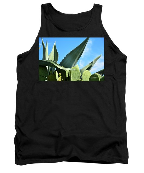 Tank Top featuring the photograph Prickly Pear Cactus And Century Plant by Ray Shrewsberry