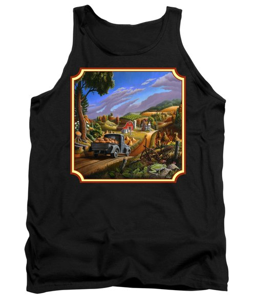 Pumpkins Farm Folk Art Fall Landscape - Square Format Tank Top