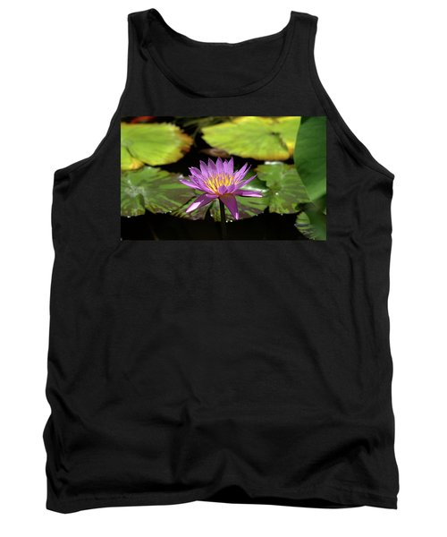 Purple And Yellow Water Lily Tank Top