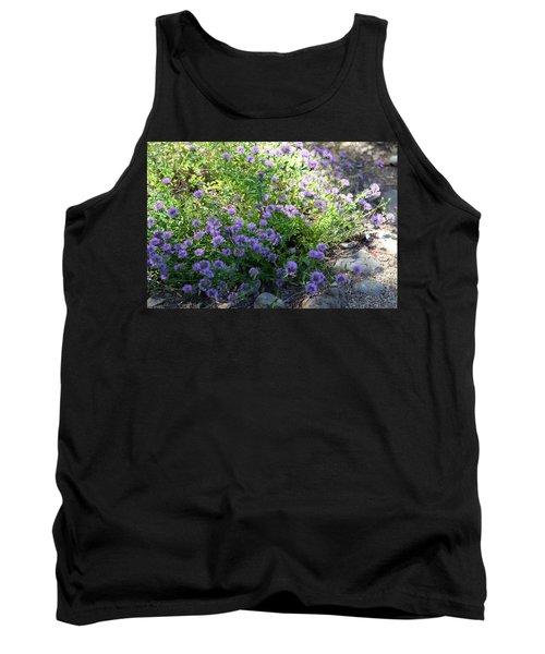 Purple Bachelor Button Flower Tank Top