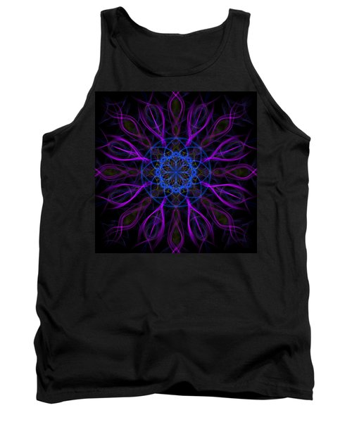 Tank Top featuring the photograph Purple Blue Kaleidoscope Square by Adam Romanowicz