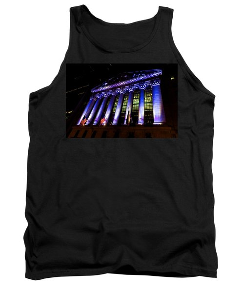 Purple New York Stock Exchange At Night - Impressions Of Manhattan Tank Top