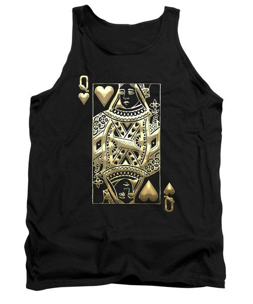Queen Of Hearts In Gold On Black Tank Top