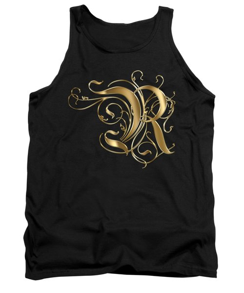 R Golden Ornamental Letter Typography Tank Top