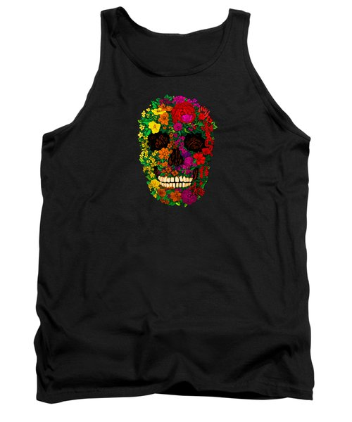 Rainbow Flowers Sugar Skull Tank Top by Three Second