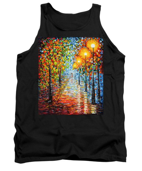 Tank Top featuring the painting Rainy Autumn Evening In The Park Acrylic Palette Knife Painting by Georgeta Blanaru