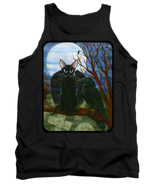 Raven's Moon Black Cat Crow Tank Top by Carrie Hawks