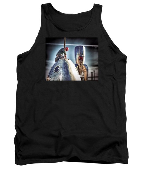Tank Top featuring the photograph Raygun Gothic Rocketship Safe Landing by Steve Siri