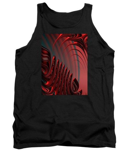 Red And Black Modern Fractal Design Tank Top by Matthias Hauser