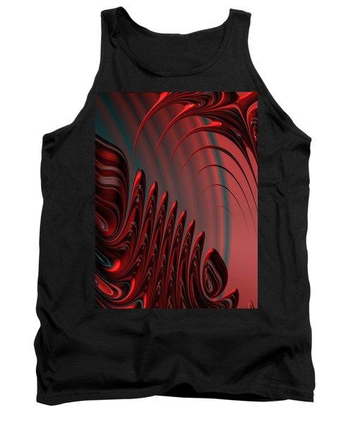 Red And Black Modern Fractal Design Tank Top