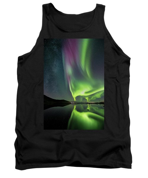 Red Auroras And A Faint Milky Way Tank Top