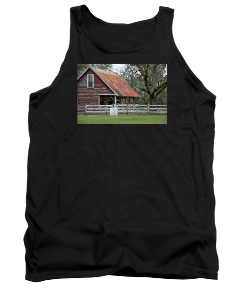Red Barn With A Rin Roof Tank Top by Lynn Jordan