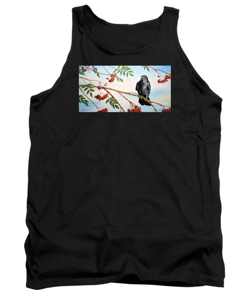 Red Berries And The Crow Tank Top by Patricia L Davidson