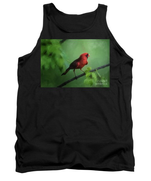 Red Bird On A Hot Day Tank Top by Lois Bryan