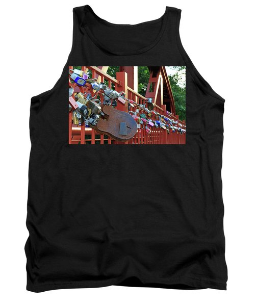 Tank Top featuring the photograph Red Bridge Locks by Christopher McKenzie