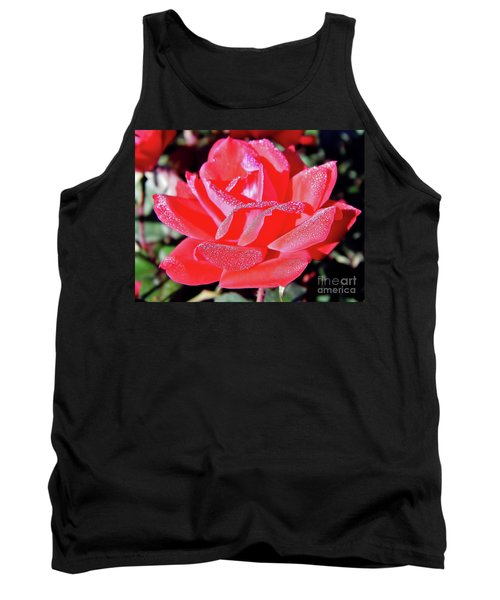 Red - Dew Covered  - Rose Tank Top