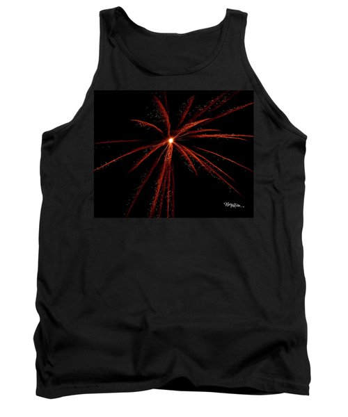Tank Top featuring the photograph Red Fireworks #0699 by Barbara Tristan