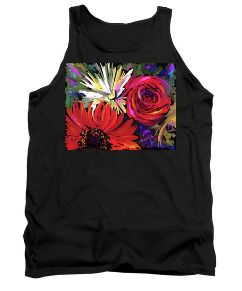 Tank Top featuring the painting Red Flowers by DC Langer