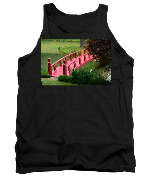 Tank Top featuring the photograph Red Garden Bridge by Kathleen Stephens