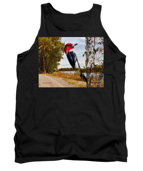 Tank Top featuring the photograph Red Headed Woodpecker In Wilderness by Annie Zeno