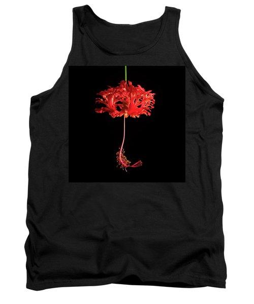 Red Hibiscus Schizopetalus On Black Tank Top
