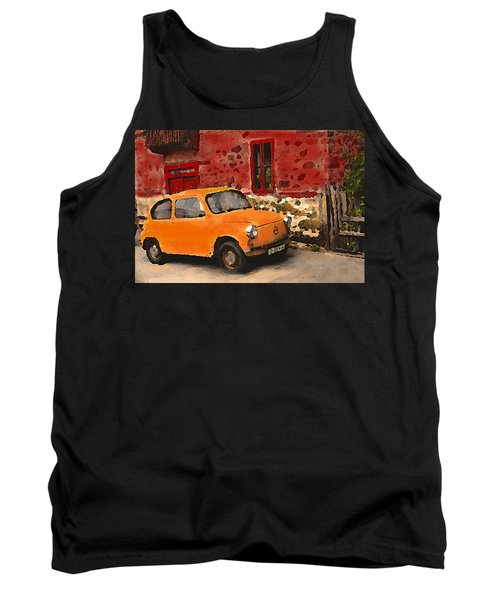 Red House With Orange Car Tank Top