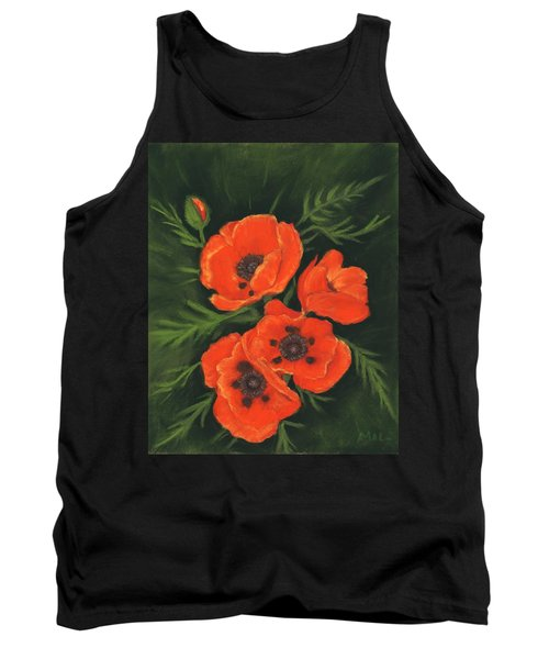 Tank Top featuring the painting Red Poppies by Anastasiya Malakhova