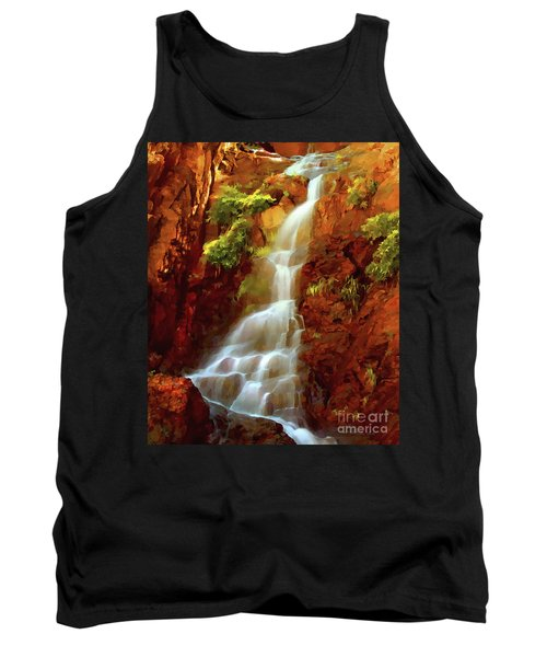 Tank Top featuring the painting Red River Falls by Peter Piatt