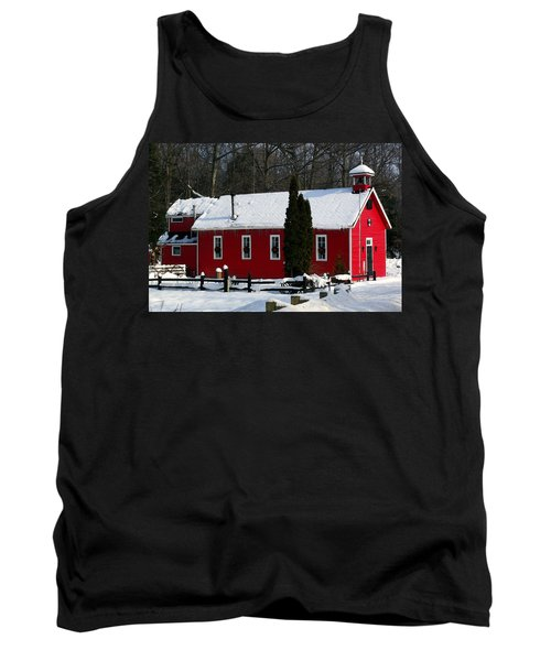 Red Schoolhouse At Christmas Tank Top