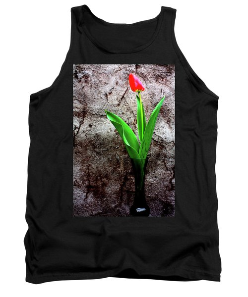 Red Tulip Tank Top by Gray  Artus