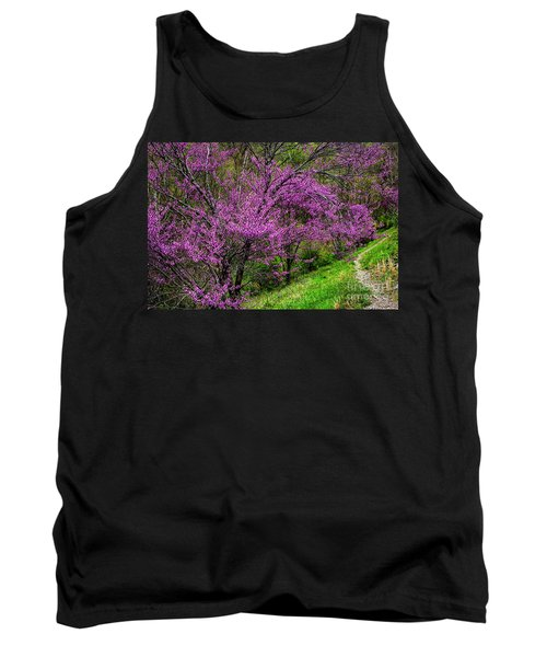 Tank Top featuring the photograph Redbud And Path by Thomas R Fletcher